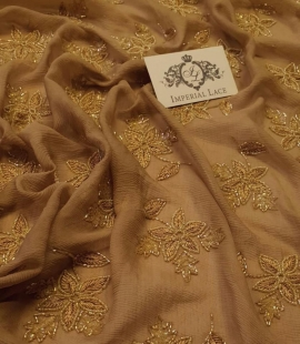 Rust tone color embroidered crinkle chiffon silk fabric