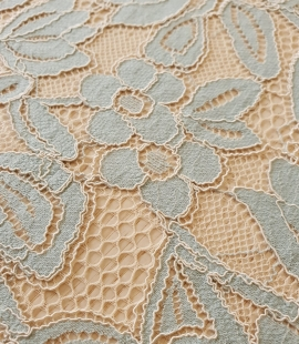 Beige with blue 70% cotton with 30% polyester guipure lace fabric