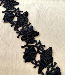 Black macrame lace trimming