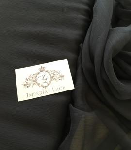 Black silk chiffon crincle fabric