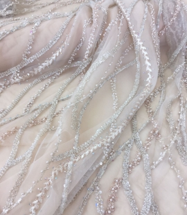Silver beaded lace fabric