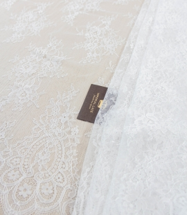 Off white floral pattern chantilly lace fabric