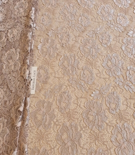 Greyish pink chantilly lace fabric