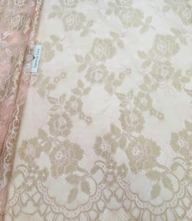 Peach lace fabric