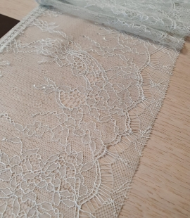 Light mint green chantilly lace trimming
