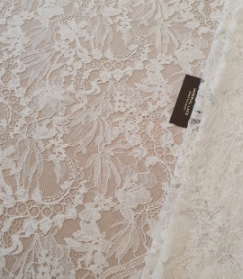 Ivory floral pattern chantilly lace fabric