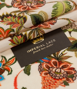 Multicolor floral printed silk crepe fabric