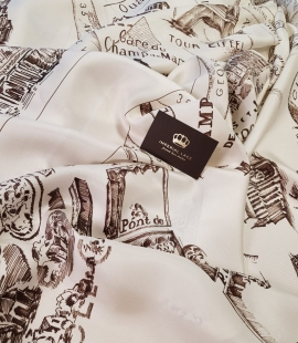 Ivory with old town drawing with dark brown silk crepe chiffon fabric
