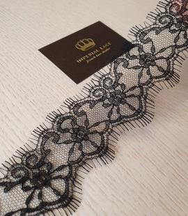 Black chantilly cotton lace trimming by Jean Bracq