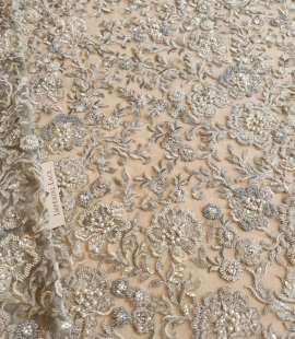 Grayish green beaded lace fabric