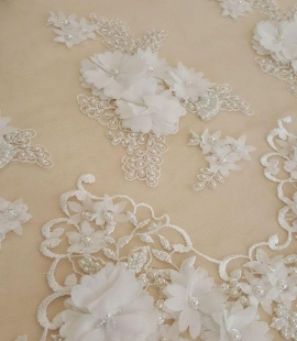 Ivory 3D flowers lace fabric