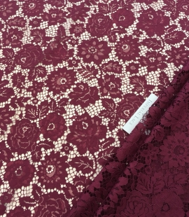 Wine red lace fabric