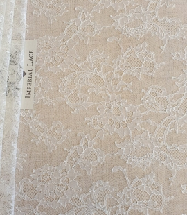 Ivory elastic chantilly lace fabric