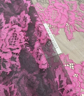 Fuchsia with grey net lace fabric