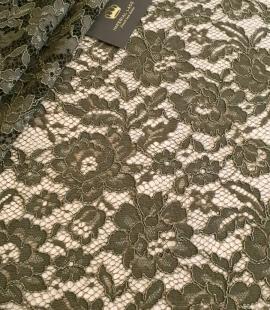 Dark haki green guipue lace fabric