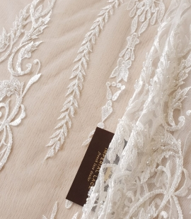 Ivory beaded lace fabric