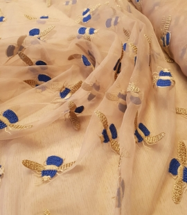 Beige with golden blue bee embroidery organza fabric