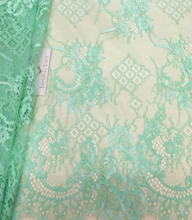 Green with Lawanda color lace Fabric