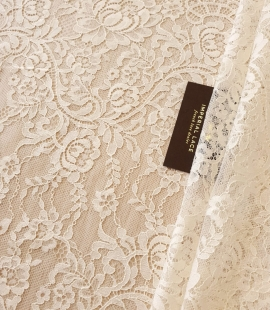 Ecru 100% polyester floral and stripes chantilly lace fabric