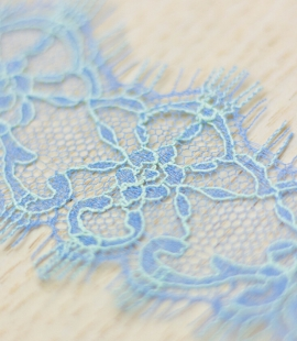 Blue with greenish yellow chantilly lace trimming