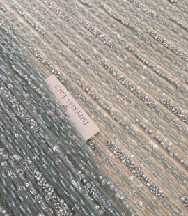 Mint Tiffany beaded lace fabric