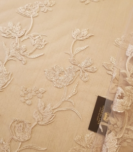 Beige 100% polyester floral pattern embroidery sequins on tulle lace fabric