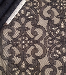 Black geometric lace fabric