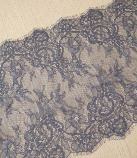 Bluish grey floral pattern chantilly lace trimming