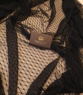 Black mesh pattern elastic tulle fabric