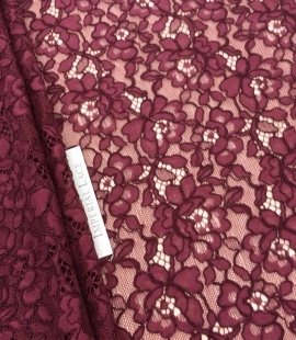 Bordo red floral alencon lace fabric