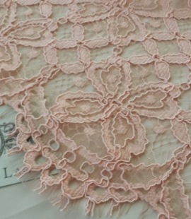 Peach Pink Lace Fabric