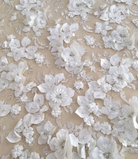 Ivory embroidery base nude soft tulle
