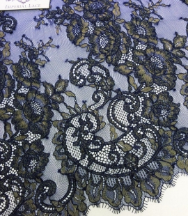 Dark blue with gold embroidered chantilly lace