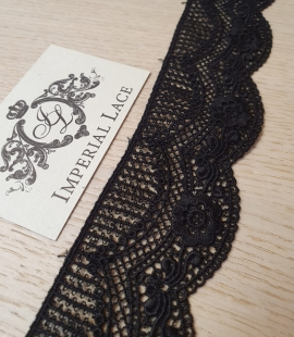 Black guipure lace trimming