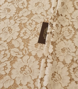 Ivory lace with nude base 70% polyester 30% cottton guipure lace fabric