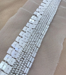 White beaded lace trim