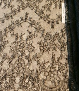 Dark navy lace fabric