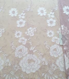 Vintage pink lace fabric