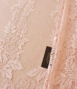 Pink guipure with chantilly lace fabric