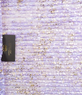 Purple crincle chantilly lace fabric with gold sequins