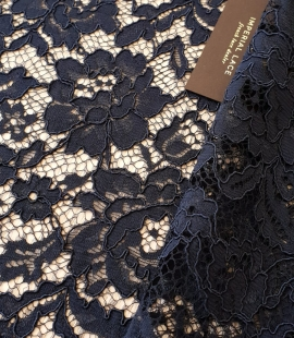 Dark blue guipure lace fabric