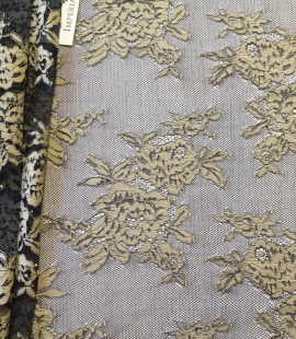 Black with beige flowers lace fabric
