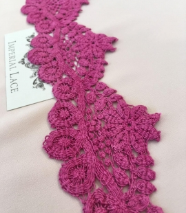 Fuchsia macrame lace trimming