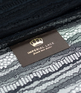 Black abstract line chantilly lace fabric