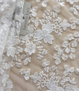 Off White embroidery lace fabric