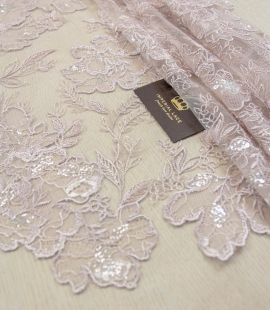 Old rose floral pattern embroidery with sequin on tulle fabric
