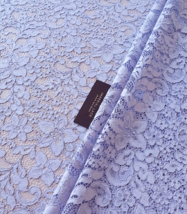 Lilac blue floral guipure lace fabric