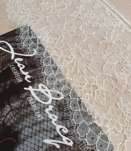 Ivory natural chantilly lace fabric by Jean Bracq