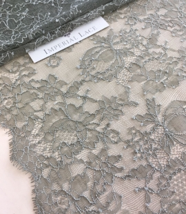 Khaki elastic lace trim