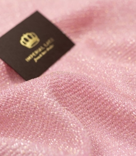 Dusty pink silk with Lurex gold and silver thread